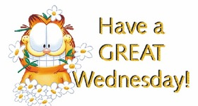 Happy Wednesday! Garfield and Friends. Chamomile. Have a great Wednesday! Free Download 2021 greeting card