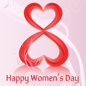 Happy Women's day! 8 March! Greeting card. Two hearts. Red color. Pink color. Beautiful ecard for her. Free Download 2021 greeting card
