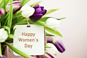 Happy Women's day! Greeting card. Violet tulips. White tulips. Beautiful ecard. For you mom or grandmom. Free Download 2021 greeting card