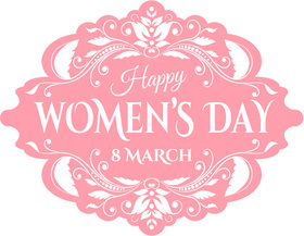 Happy Women's day! Pink Clip-Art. Greeting card. 8 march. Be happy! Beautiful ecard. For you favorite woman. Emblem style. White background. Free Download 2021 greeting card