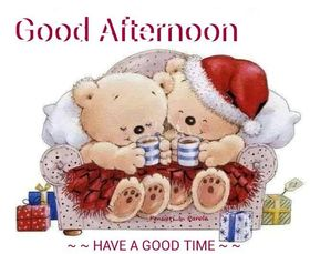 Have a good time! Best Good Afternoon Card! Teddy bears. Toy bears in red dresses. Present. Gifts. New Year. Free Download 2021 greeting card