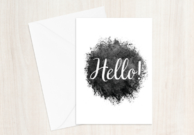 Hello! White & Black. Handmade. Ecard 2018. Free Download 2021 greeting card
