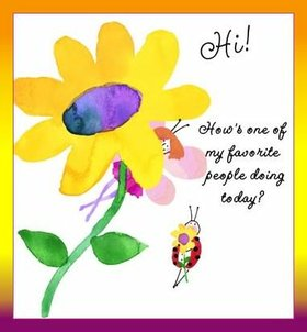 Hello! Hi! Watercolor. A chamomile. Ecard for kids. Ecard for children. A child's drawing of yellow chamomile. Little ladybug. Children's art. Free Download 2021 greeting card