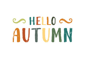 Hello, autumn! Delicate colour. White background. Colorful Inscription. Free Download 2021 greeting card