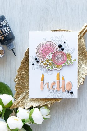 Hello cards! Flowers. Paper roses. Golden leaf. Free Download 2021 greeting card