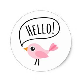Hello! Color Clip-Art. White background. PNG. Inscription in a circle. Ecard in the form of the circle. A little bird. Free Download 2021 greeting card