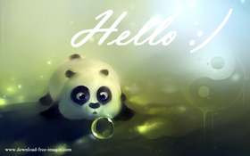 Hello! Cute panda. JPG. Green background. Say Hello to me! Super panda. Little panda. White Text. White inscription. Pear background. Free Download 2021 greeting card