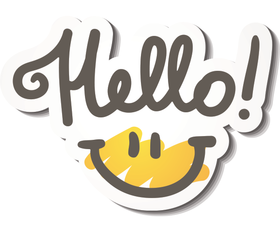 Hello! Happy smile! PNG. Super smile from You! Ecard 2018. Free Download 2021 greeting card