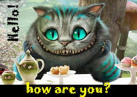Hello! How are you? The cheshire cat. Say Hello to me! Non-standard ecard. Sunny day. Super ecard. Nice. Free Download 2018 greeting card