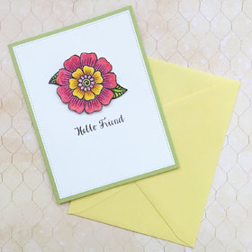 Hello, my friend! Handmade. Pink rose. Yellow envelope. Free Download 2021 greeting card