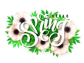 Hello, Spring! Bright green color. Clip-Art. Non-Standard font. Flowers. Free Download 2021 greeting card