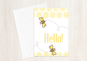 Hello super card for You! Handmade. Ecard for girl. Honeybee. Yellow & white ecard. Free Download 2021 greeting card