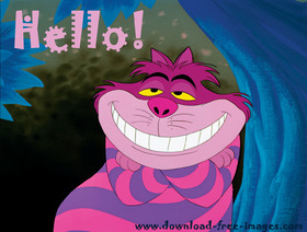 Hello to You from me) The cheshire cat. Pink cat. Funny cat. Say hello. Hi to You. Free Download 2018 greeting card