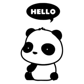 Hello to You from panda! Free JPG. White panda on a white background. Say Hello to me. Free Download 2021 greeting card