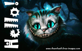 Hello to You from the cheshire cat. JPG. Say Hello to me! Non-standard ecard. Super ecard. Nice. Black background. Dark night. Free Download 2018 greeting card