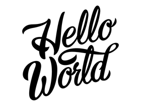 Hello world! Black text on the white background. Beautiful cursive. Free Download 2021 greeting card