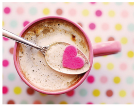Hello! You are in my heart! I love You! A pink a cup of white coffee. Coffee with milk. Pink heart. Heart-shaped sugar. Free Download 2021 greeting card