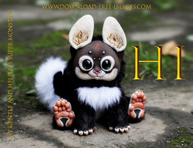 Hi for me! Gold text. Hello. Hi. I'm your gentle and helpless monster) Black fur, black eyes, and bloody adorable. Gremlins. Free Download 2021 greeting card
