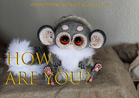 How are You? I'm your gentle and helpless monster) A fantasy series of golden cards. White and grey fur, hazel eyes, and bloody adorable. Gremlins. Free Download 2021 greeting card
