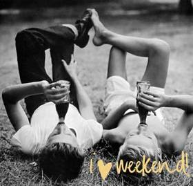 I like my Weekend! Man and woman. Black and white photo. Free Download 2021 greeting card