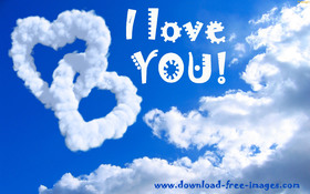 I Love YOU! Look at the beautiful clouds. Clouds in the sky. Hearts. Free Download 2021 greeting card