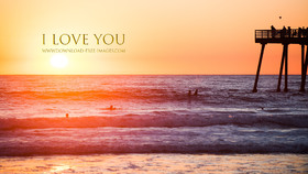 I Love You! Gold text. Golden sunset in your evening. Nice evening. Free Download 2021 greeting card