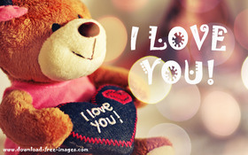 I love You! My teddy (#^_^#) Teddy Bear. White inscription. Free Download 2018 greeting card