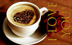 I Love You! Red rose & a cup of coffee. Happy Coffee day! Greeting Cards. Coffe. Gold text. Gold collection. A hot cup of white coffee. Red rose. Heart. Free Download 2021 greeting card