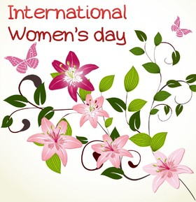 International Womens day. Beautiful flowers. Pink butterfly. Greeting card. Beautiful ecard. For you favorite lady. Free Download 2021 greeting card