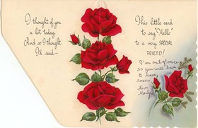 Just to say hello! Red roses for Her. Flowers for friend. Bright red roses, long-stemmed.. Green long-stemmed. Free Download 2021 greeting card