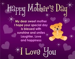 To My dear sweet mother... New ecard for free. Teddy-bear. hearts. I love you. Happy mother's day. Purple e-card. Free Download 2019 greeting card