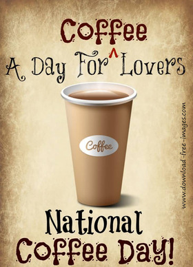 National coffee day. A day for coffee lovers. Greeting Card. A paper cup of very strong coffee. Black coffee. Best Ecard. Free Download 2019 greeting card
