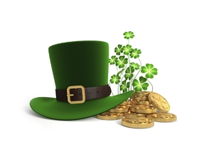 St. Patrick's day! Green hat and gold. Shamrock. JPG. Free Download 2021 greeting card