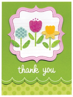 Thank You! Green background. Flowers for children. A fun gift. New Ecard. Free Download 2021 greeting card