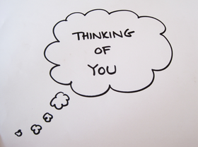 Thinking of You! Black & White clipart. Clouds. PNG. Free Download 2021 greeting card