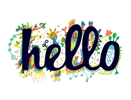 Hello! Clip-Art Text. Black text. Creative inscription on a white background. Flowers. Greeting card. Free Download 2020