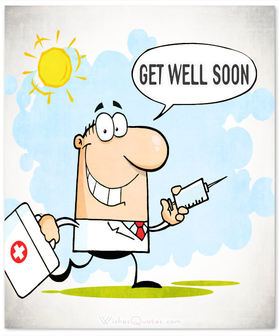 Doctor wants to cure you. Get well soon! Ecard. A doctor with a syringe. Get well very soon. Funny postcard with a doctor. Get well for friends. Free Download 2021 greeting card