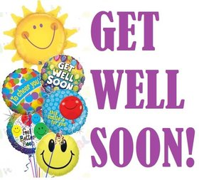 Get Well Soon and funny ballons for kids. New ecar Kids ecards. Wish you to get well soon. Funny colorful ballons for your child. Get well wishes. Free Download 2021 greeting card