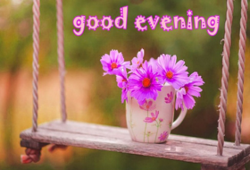 Good Evening card with a pink flower. Ecard. I want to wish you a good evening and a wonderful holiday. Rest, enjoy the unity with yourself and remember that I love you! Free Download 2019 greeting card