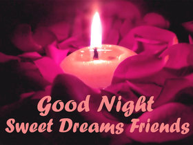 Good Night card for friends. Download card to best friends. Card with pink candle and roses. I wish you wonderful dreams. Let all the worries fade away! Free Download 2020 greeting card