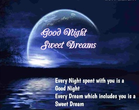 Lovely Good Night Card for girlfriend. Download image. Postcard with beautiful moon for beloved girlfriend. Every Night spent with you is a Good Night. Every Dream which includes you is a Sweet and Happy Dream. Free Download 2021 greeting card