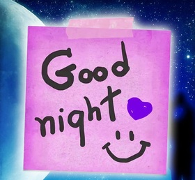 Good Night! Pink sticker. Violet heart. Smile. Good Night... Stars. Night sky. wishes... sweet Dream... Beautiful good night... Ecatds for beautiful girls. Free Download 2018 greeting card