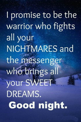 Good Night! Wishes. Winter. Snow. Good Night...sweet Dream... I promise to be the warrior who Fights all your NIGHTMARES and the messenger who brings all SWEET DREAMS. Free Download 2018 greeting card