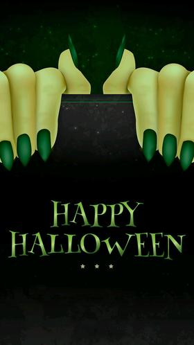 Happy Halloween 2018. Ecard. Halloween green nails. Happy moment! Free Download 2018 greeting card