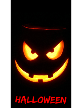 Scary face wishs you happy Halloween. Ecard. Stay in holiday with me. Free Download 2021 greeting card