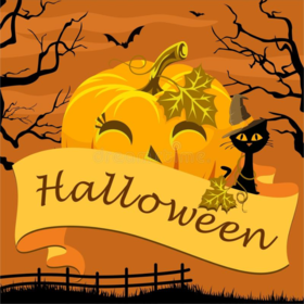 Cute Halloween. New ecard. Halloween. We wish you all very happy Halloween. Halloween black cat. Halloween wishes and cards for kids. Free Download 2021 greeting card