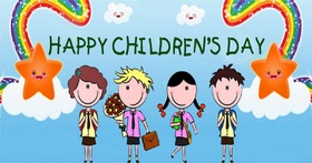 Happy Children go to school too. New ecard! Happy Children go to school too. Stars. Rainbow. Free Download 2019 greeting card