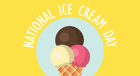 Happy National Ice-cream Day! Yellow ecard! Happy National Ice-cream Day. 3 ice-creams. Chocolate ice-cream! Free Download 2021 greeting card