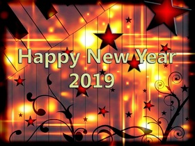 Flaming e-card. Magic ecard 2019. Happy New Year 2019. Stars. Piano. Flaming card. Free Download 2019 greeting card