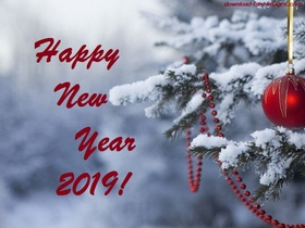This snowy e-card for you! Happy New Year 2019. Red Ball. Fir-tree. X-mas tree. Christmas tree. Snow. Free Download 2021 greeting card